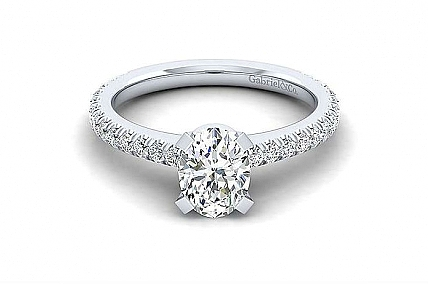 Gabriel & Co. - 14K White Oval Center Semi Mount Diamond Ring
