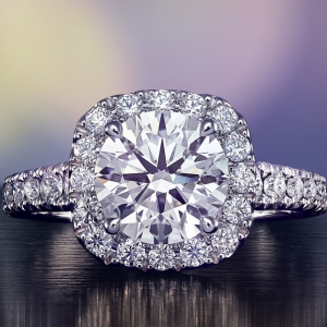 Cushion cut engagement ring and wedding bands