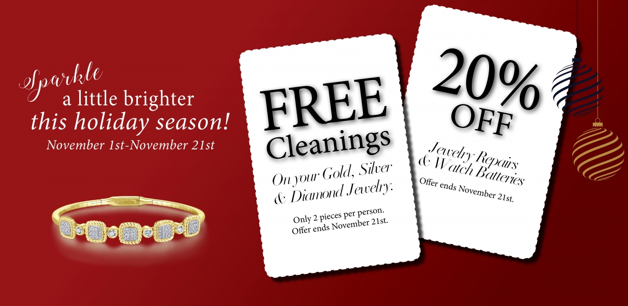 Free jewelry cleanings and 20$ off repairs